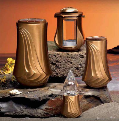 Italian Memorial Products Bronze Lamps And Flower Vases